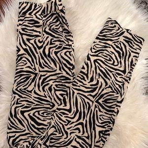 High waist zebra print pants